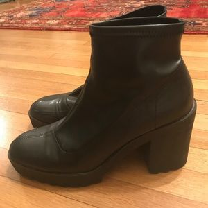 Zara faux black leather slim ankle boots booties